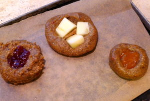 Roasted Garabanzo Cookie on Parchment Paper on their way to the oven to be baked